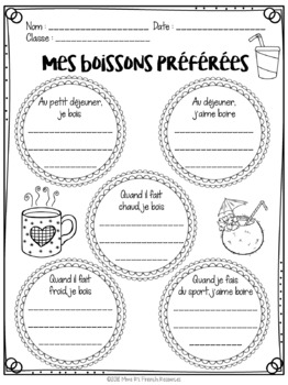 French verb boire worksheet and game