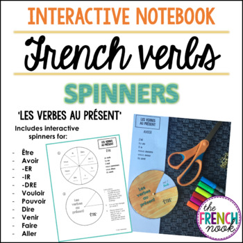 French verb conjugation interactive notebook spinners - present tense