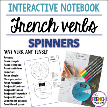 French verb conjugation interactive notebook spinners - any verb,any tense!