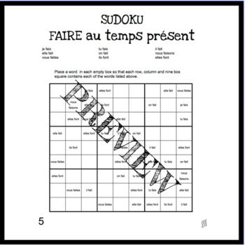 French verb faire present tense sudoku games - Le verbe faire au temps présent
