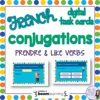 French verb prendre task cards BOOM CARDS