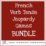 French verb tenses powerpoint jeopardy games bundle - 17 different games