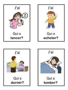 French verbs  J'ai ... Qui a ...? game