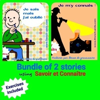French reading -  Verbs -Savoir et Connaître- Bundle of 2 stories with exercises