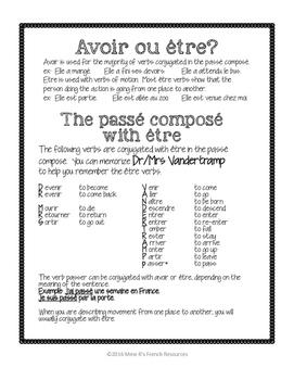 Avoir ȇtre French verbs - passé composé