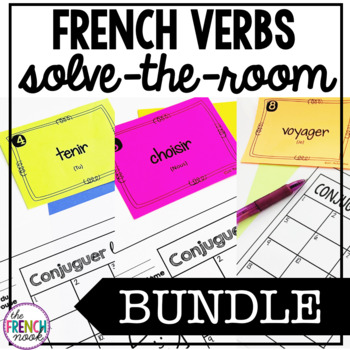 French verbs write-the-room task card BUNDLE