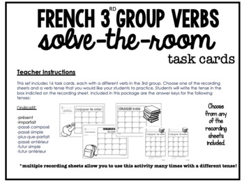 French verbs write-the-room task cards - set 3 - 3rd group