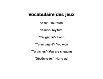 French vocabulary for playing games