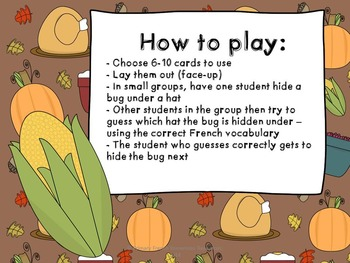 French vocabulary game - Bug in a rug - Thanksgiving - Jeu de vocabulaire