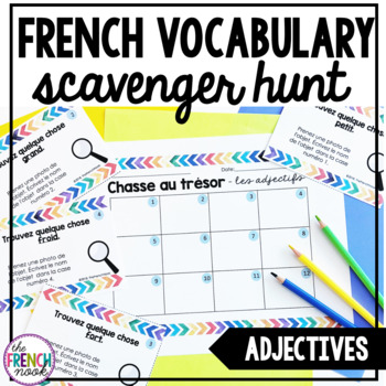 French vocabulary scavenger hunt adjectives les adjectifs