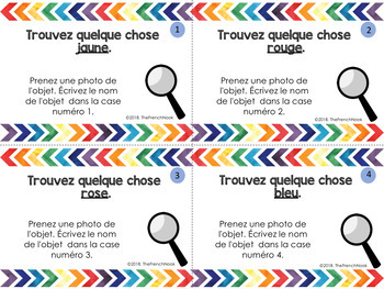 French vocabulary scavenger hunt les couleurs