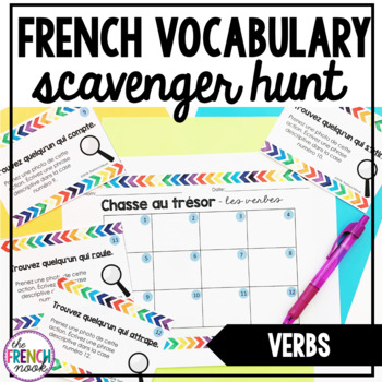 French vocabulary scavenger hunt les verbes
