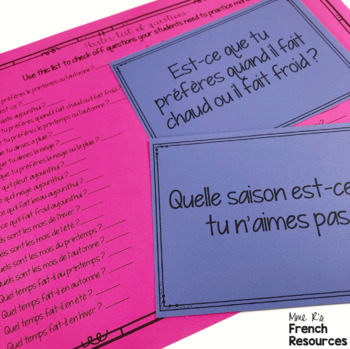 French speaking activity WEATHER VOCABULARY LE TEMPS