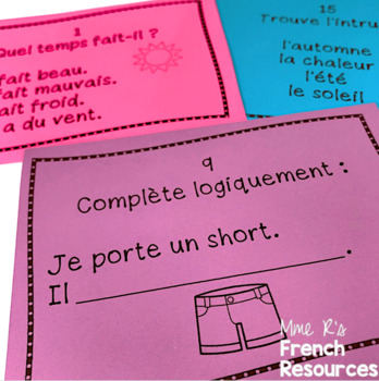 French weather vocabulary task cards and scoot game /le temps