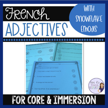 French winter adjectives emoji activity LES ADJECTIFS