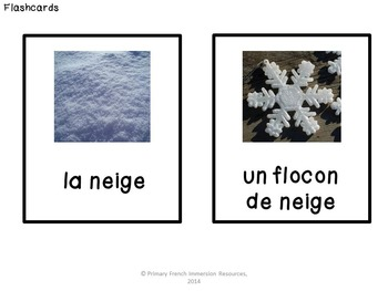 "French winter / l'hiver - flashcards, ""bug in a rug"", and dominos"