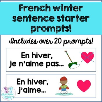 French winter / l'hiver - sentence starter prompts
