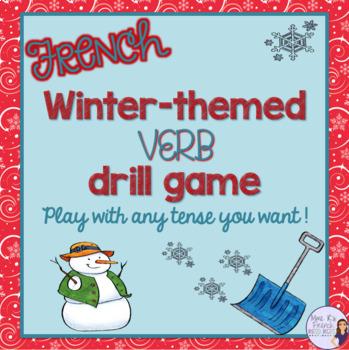 French winter themed verb drill game JEU DE CONJUGAISON