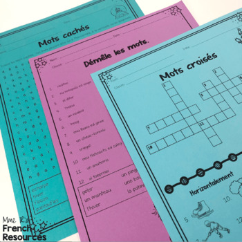 French winter vocabulary activities and puzzles