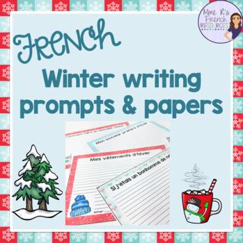 French winter writing prompts / sujets d'écriture pour l'hiver