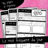 French word of the day Mot du jour français 76 feuilles imprimables / printables