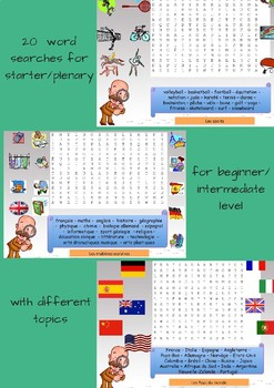 French word searches for beginners/intermediate levels