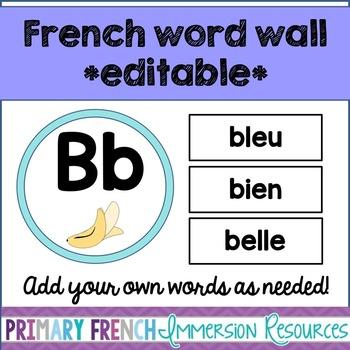 French word wall - EDITABLE