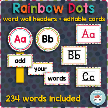 French word wall   mur des mots RAINBOW DOTS
