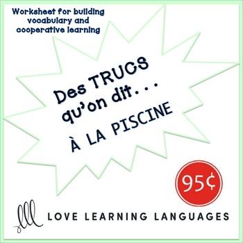 French worksheet: Des trucs qu'on dit à la piscine - Things we say at the pool
