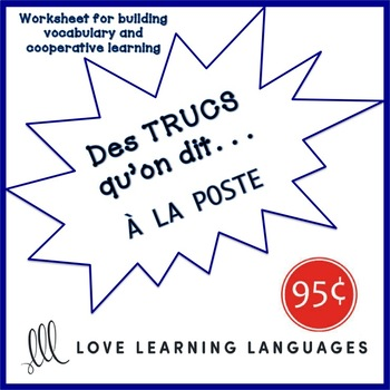 French worksheet: Des trucs qu'on dit à la poste-What we say at the post office