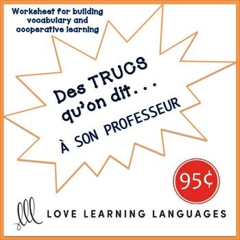 French worksheet: Des trucs qu'on dit au directeur de l'école