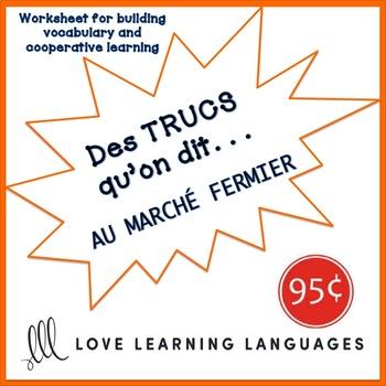 French worksheet: Des trucs qu'on dit au marché fermier - At the farmers' market