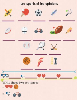 French worksheet Les sports et les opinions, vocabulary sheet