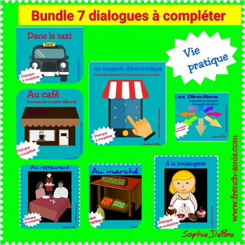 French writing Bundle - 7 situations, 7 dialogues to complete