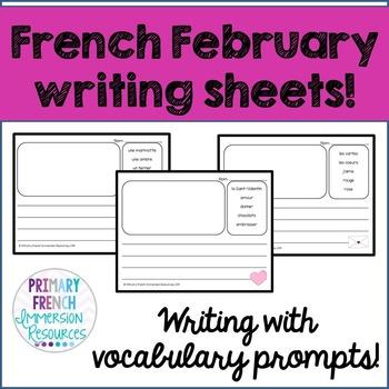 French writing - February Themed - L'écriture de février