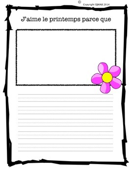 French writing activity about seasons
