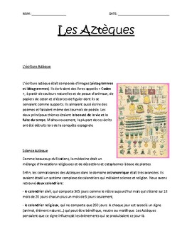 French, writing and science of Aztecs / L'ecriture et science des Azteques