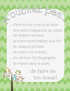 French writing poster