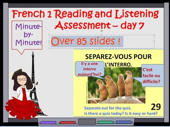 French1 listening and reading assessment Greetings Day 7