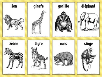 image relating to Printable French Flashcards referred to as French/English Animal Flashcards and Term Wall