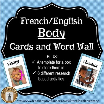 French/English Body Flashcards and Word Wall