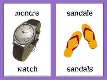 French/English Clothing Flashcards and Word Wall