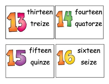 French/English Number Cards
