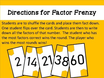 Factor Fluency Card Game Activity Small Group Centers