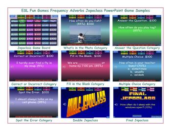 Frequency Adverbs Jeopardy PowerPoint Game Slideshow