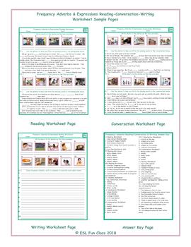 Frequency Adverbs Reading-Conversation-Writing Worksheets
