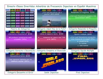 Frequency Adverbs Spanish Jeopardy Game
