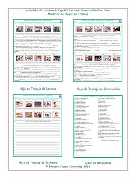 frequency adverbs spanish reading conversation writing worksheets. Black Bedroom Furniture Sets. Home Design Ideas
