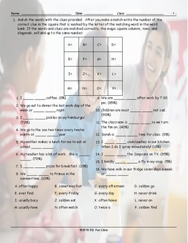 Frequency Adverbs-Time Expressions Magic Square Worksheet