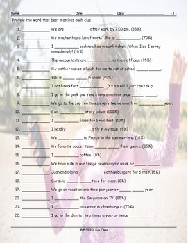 Frequency Adverbs-Time Expressions Matching Worksheet